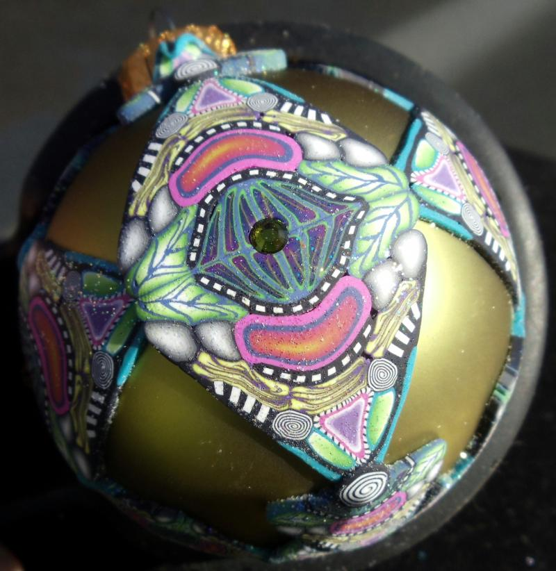 Kaleidoscope Ornament (glass and polymer clay)